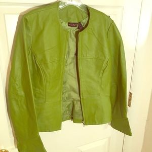 Lime green genuine leather shaping jacket